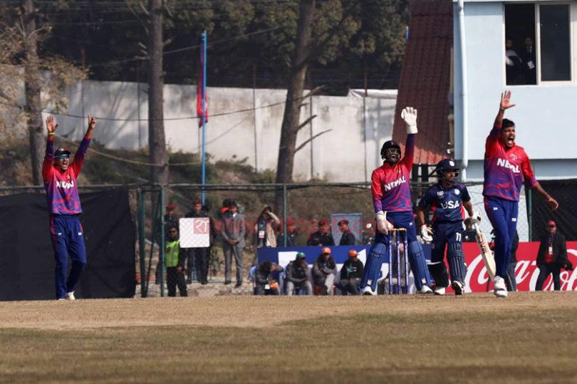आइसीसी विश्वकप क्रिकेट लिग–२ मा बुधबार नेपालले अमेरिकाविरुद्ध घातक बलिङ गरेको छ